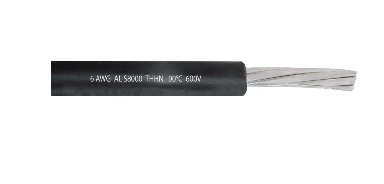 Cable de aluminio 6 AWG AL S8000 THHN